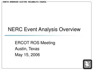 NERC Event Analysis Overview