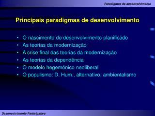 Principais paradigmas de desenvolvimento