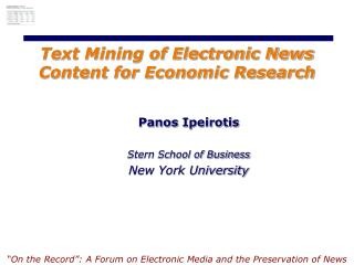 Text Mining of Electronic News Content for Economic Research