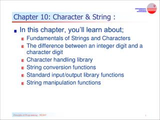 Chapter 10: Character & String :