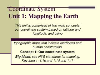 Coordinate System U nit 1: Mapping the Earth