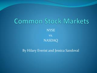 Common Stock Markets