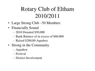 Rotary Club of Eltham 2010/2011