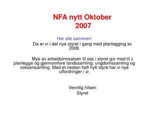 NFA nytt Oktober  2007