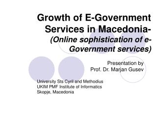 Growth of E-Government Services in Macedonia- Online sophistication of e-Government services