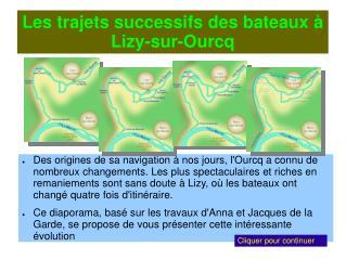 Les trajets successifs des bateaux à Lizy-sur-Ourcq