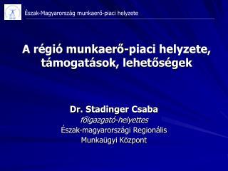 Dr. Stadinger Csaba főigazgató-helyettes Észak-magyarországi Regionális  Munkaügyi Központ