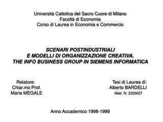 Università Cattolica del Sacro Cuore di Milano Facoltà di Economia