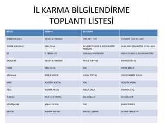 İL KARMA BİLGİLENDİRME TOPLANTI LİSTESİ