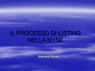 IL PROCESSO DI LISTING NELLA NYSE