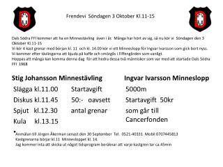 Stig Johansson Minnestävling