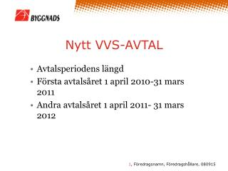 Nytt VVS-AVTAL
