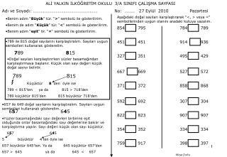 ALİ YALKIN İLKÖĞRETİM OKULU  3/A SINIFI ÇALIŞMA SAYFASI