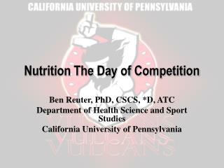 Nutrition The Day of Competition