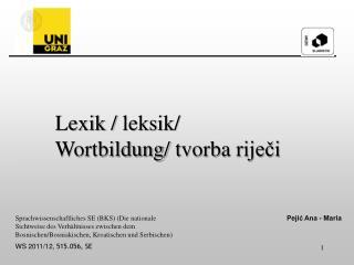 Lexik / leksik / Wortbildung/ tvorba rije?i