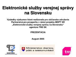 Elektronick� slu�by verejnej spr�vy  na Slovensku