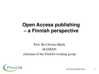 Open Access publishing –  a Finnish perspective