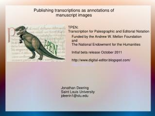 TPEN: Transcription for Paleographic and Editorial Notation