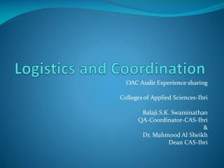 Logistics and Coordination