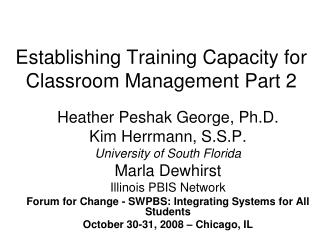 Establishing Training Capacity for Classroom Management Part 2
