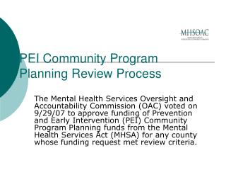 PEI Community Program  Planning Review Process
