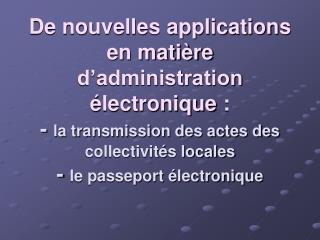 L'administration électronique
