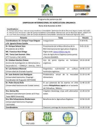 Programa de ponencias del  SIMPOSIUM INTERNACIONAL DE AGRICULTURA ORGANICA