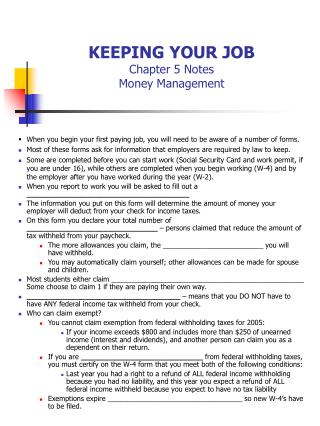 KEEPING YOUR JOB Chapter 5 Notes Money Management
