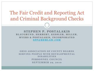 The Fair Credit and Reporting Act and Criminal Background Checks