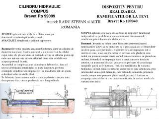 CILINDRU HIDRAULIC COMPUS Brevet Ro 99099