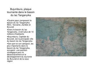 Bujumbura, plaque tournante dans le bassin du lac Tanganyika