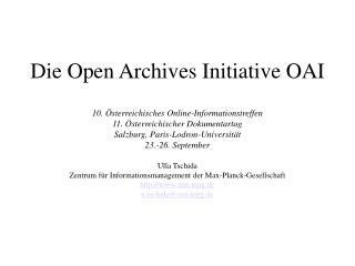 Die Open Archives Initiative OAI