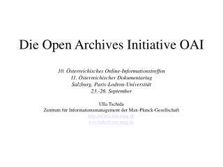 Die Open Archives Initiative OAI