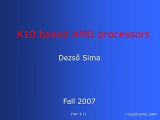 K10 based AMD processors
