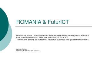 ROMANIA & FuturICT