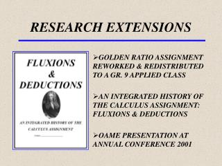 RESEARCH EXTENSIONS