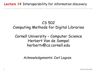 Lecture 14  Interoperability for information discovery