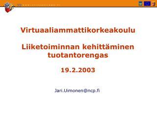 Virtuaaliammattikorkeakoulu Liiketoiminnan kehitt�minen tuotantorengas 19.2.2003