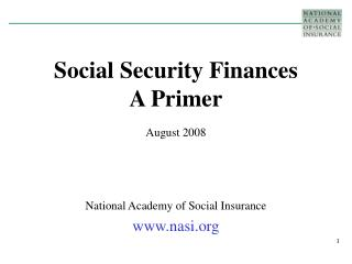 Social Security Finances  A Primer
