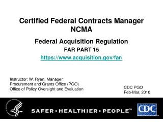 Certified Federal Contracts Manager NCMA