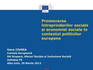 Promovarea întreprinderilor sociale și economiei sociale în contextul politicilor europene