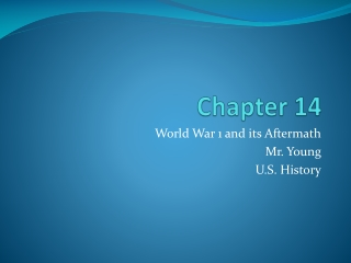 World History, Chapter 26  World War I