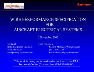 WIRE PERFORMANCE SPECIFICATION FOR AIRCRAFT ELECTRICAL SYSTEMS 6 November 2002