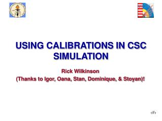 USING CALIBRATIONS IN CSC SIMULATION