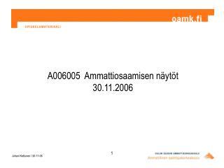 A006005  Ammattiosaamisen näytöt 30.11.2006