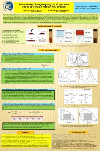 Tính chất dập tắt huỳnh quang của tổ hợp nano  ứng dụng trong pin mặt trời hữu cơ (OSC)