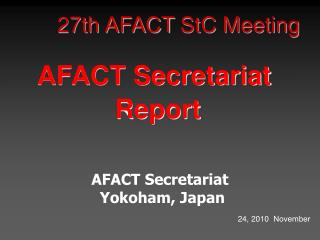 27th AFACT  StC  Meeting