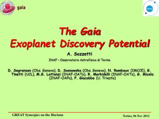 The Gaia  Exoplanet Discovery Potential A. Sozzetti INAF – Osservatorio Astrofisico di Torino