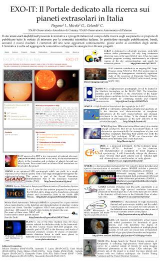 EXO-IT: Il Portale dedicato alla ricerca sui pianeti extrasolari in Italia