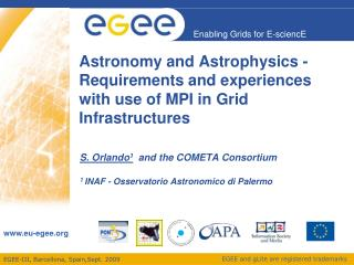 Astronomy and Astrophysics - Requirements and experiences with use of MPI in Grid Infrastructures